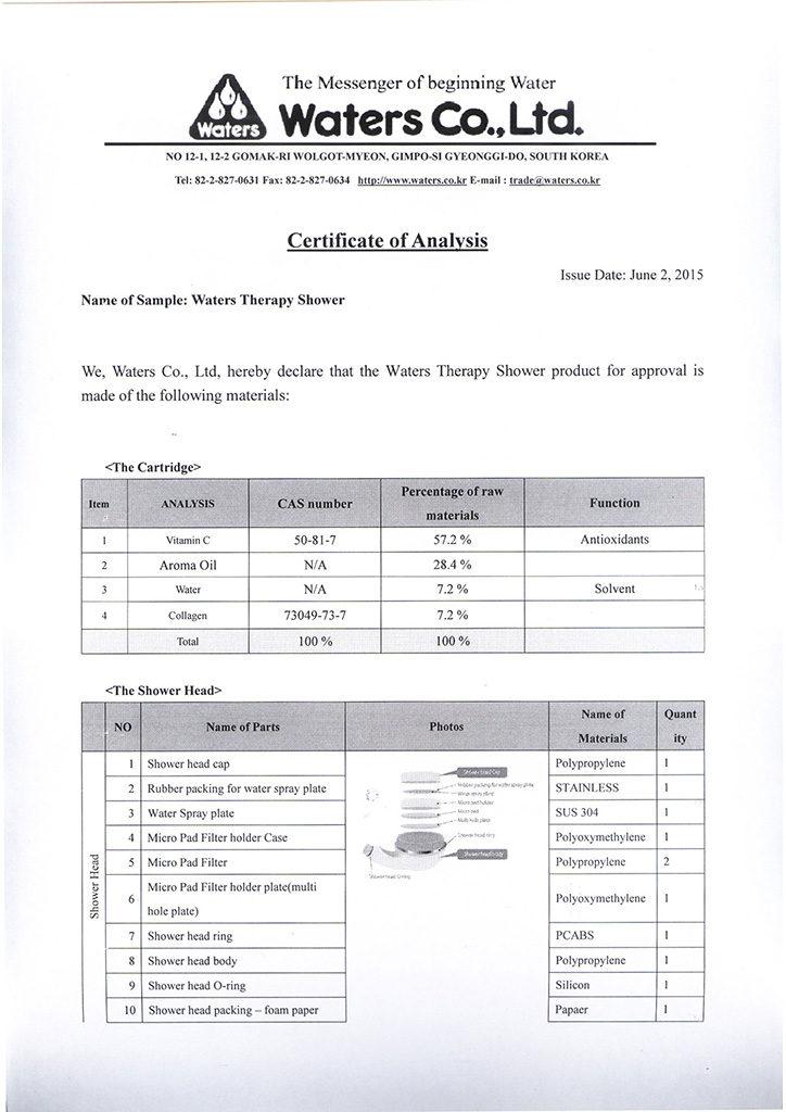 Certyfikat Waters zestawu prysznicowego Therapy Shower