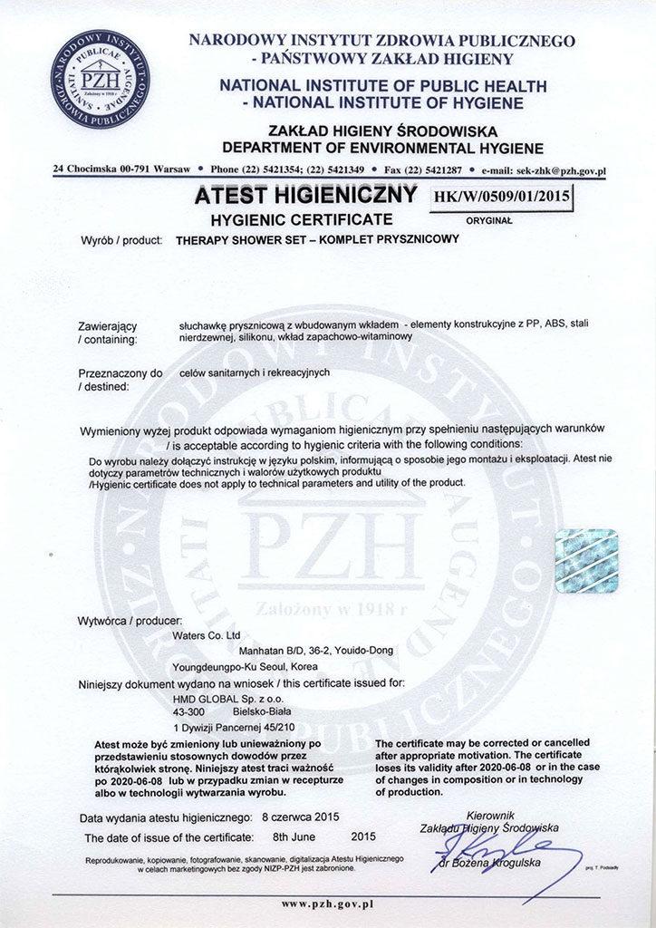 Certyfikat PZH słuchawki prysznicowej Therapy Shower